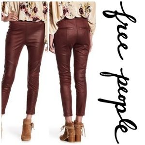Free People❤️Faux Leather Leggings Burgundy NWT
